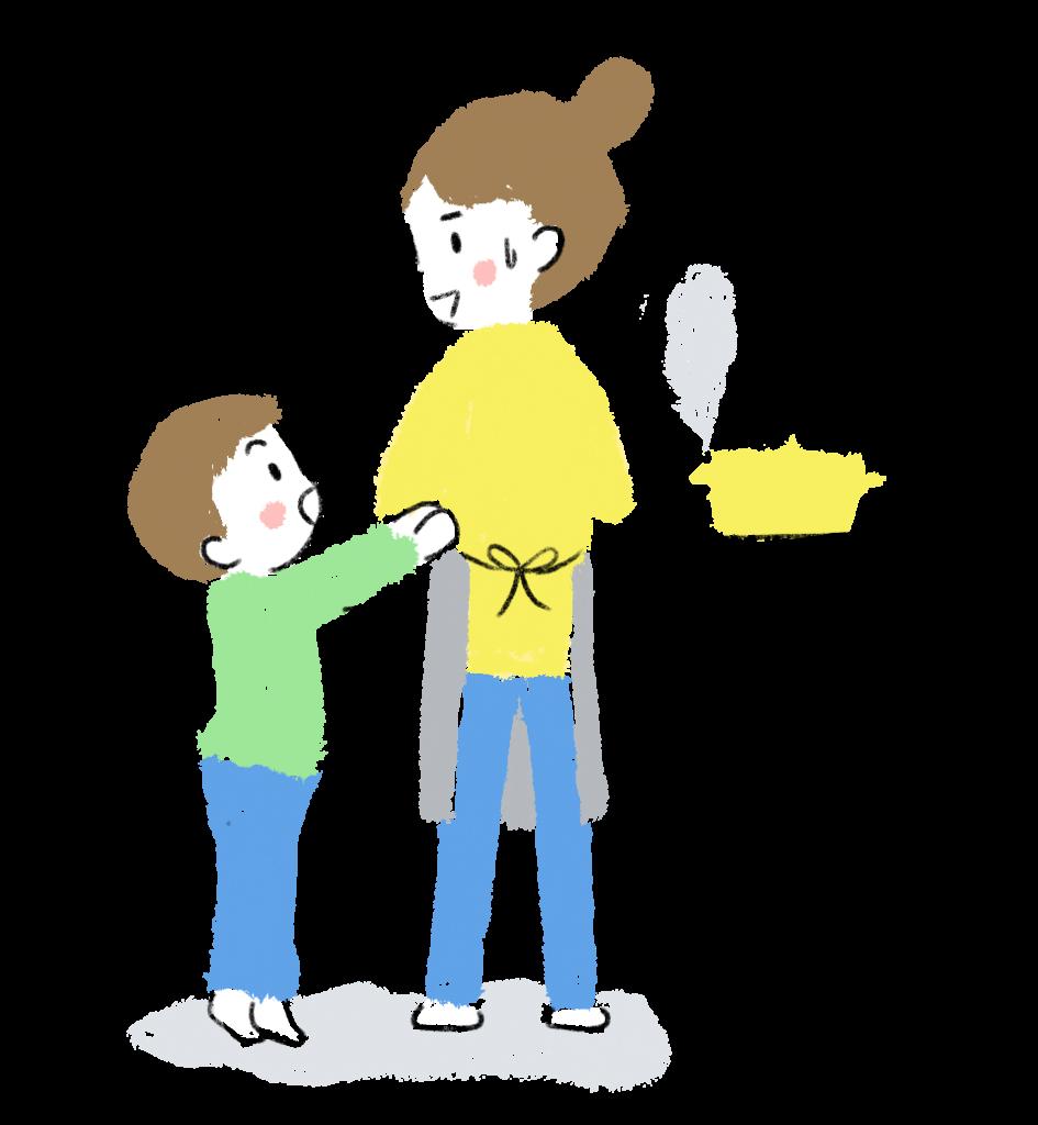 キッチンでの親子の風景