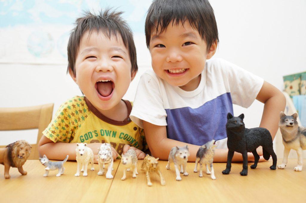動物の人形で遊ぶ男の子